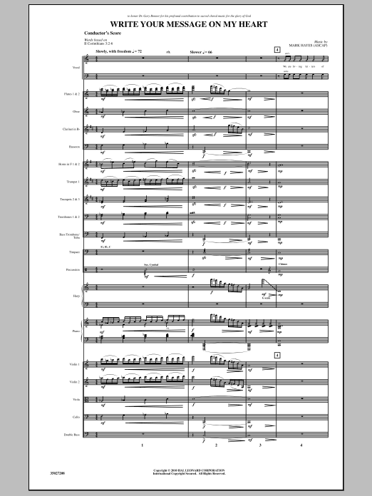 Write Your Message On My Heart (COMPLETE) sheet music for orchestra/band (Orchestra) by Mark Hayes. Score Image Preview.