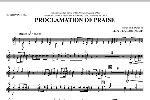 Proclamation Of Praise - Bb Trumpet 2,3 Sheet Music