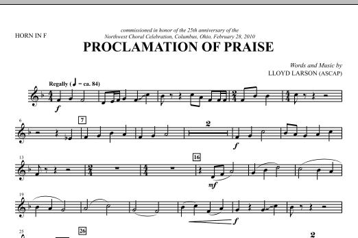 Proclamation Of Praise - F Horn Sheet Music