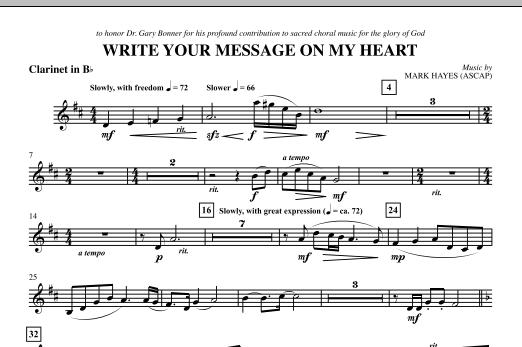 Write Your Message On My Heart - Clarinet (Choir Instrumental Pak)