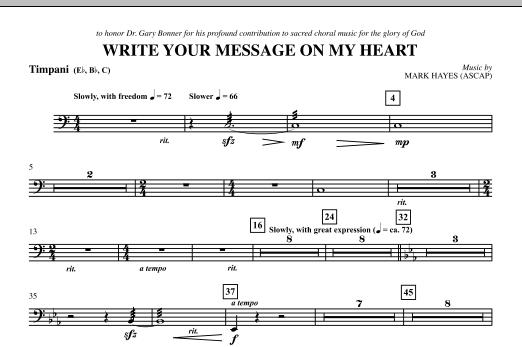 Write Your Message On My Heart - Timpani (Choir Instrumental Pak)