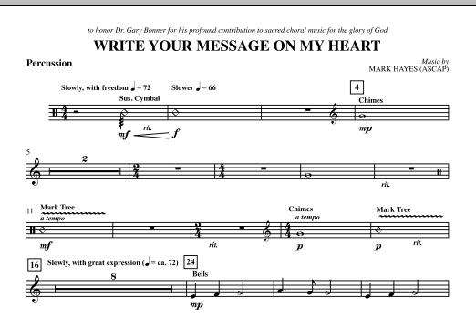 Write Your Message On My Heart - Percussion (Choir Instrumental Pak)