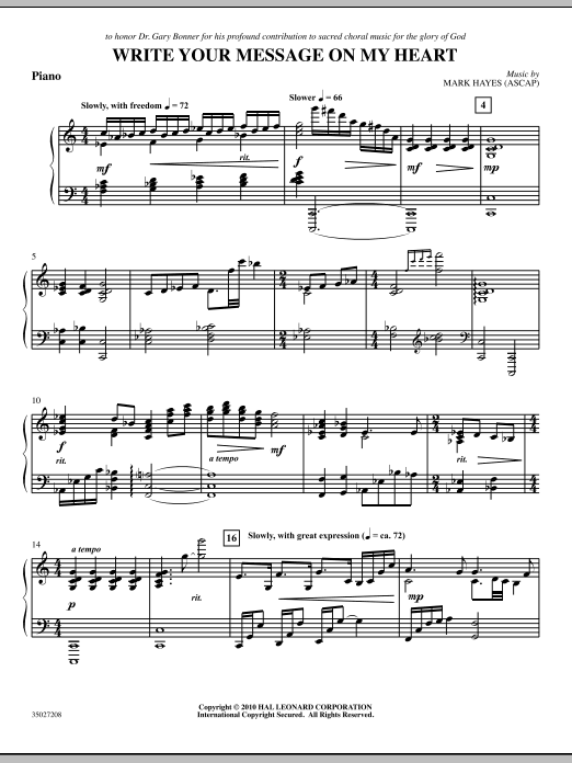 Write Your Message On My Heart - Piano (Choir Instrumental Pak)
