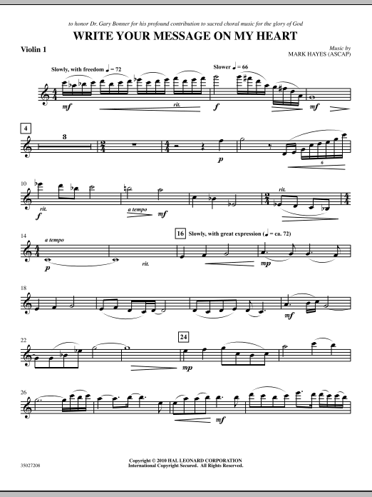 Write Your Message On My Heart - Violin 1 (Choir Instrumental Pak)