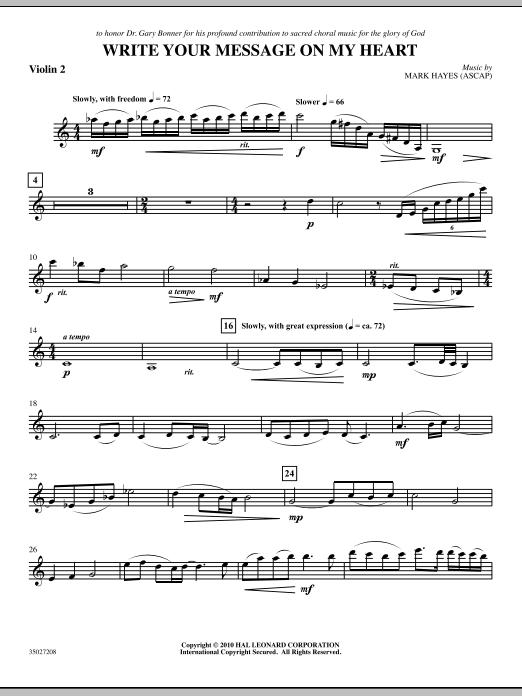 Write Your Message On My Heart - Violin 2 (Choir Instrumental Pak)