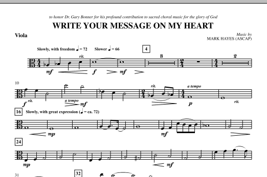 Write Your Message On My Heart - Viola (Choir Instrumental Pak)