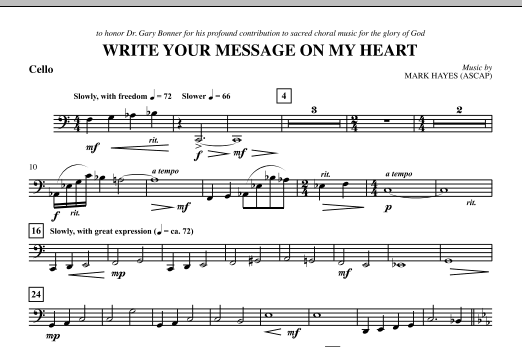 Write Your Message On My Heart - Cello (Choir Instrumental Pak)