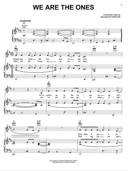 We Are The Ones Sheet Music
