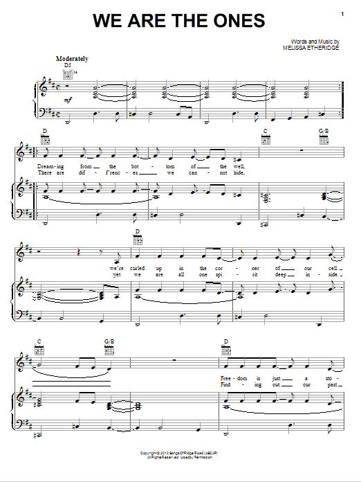 Partition piano We Are The Ones de Melissa Etheridge - Piano Voix Guitare (Mélodie Main Droite)