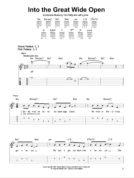 Tablature guitare Into The Great Wide Open de Tom Petty - Tablature guitare facile