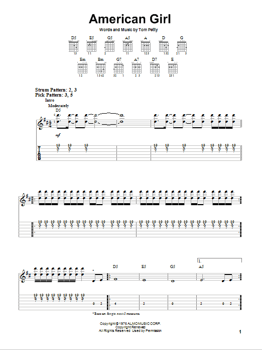 American Girl by Tom Petty And The Heartbreakers - Easy Guitar Tab ...