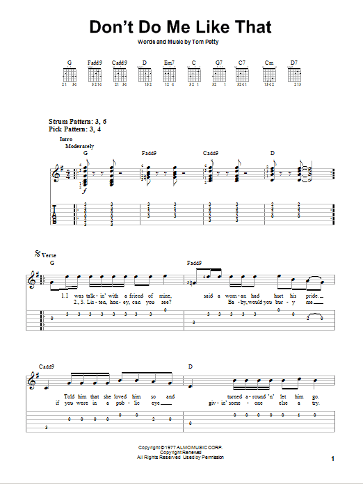 Don't Do Me Like That (Easy Guitar Tab)