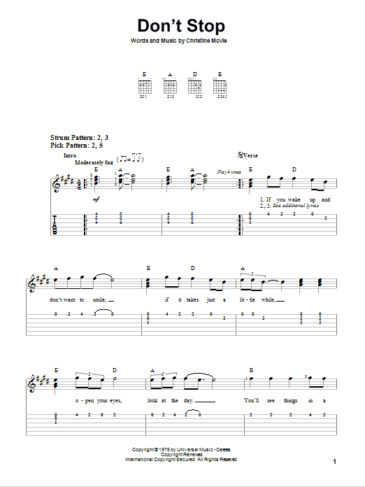 Don\'t Stop by Fleetwood Mac - Easy Guitar Tab - Guitar Instructor