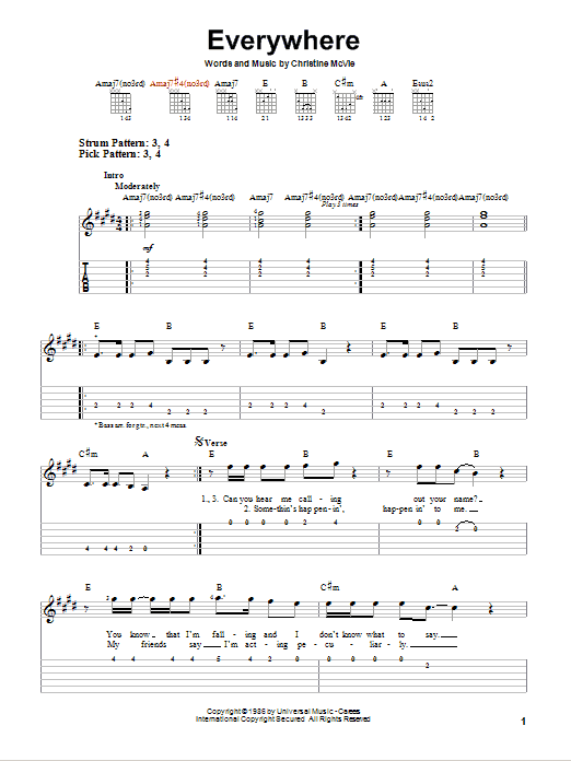 Everywhere (Easy Guitar Tab)