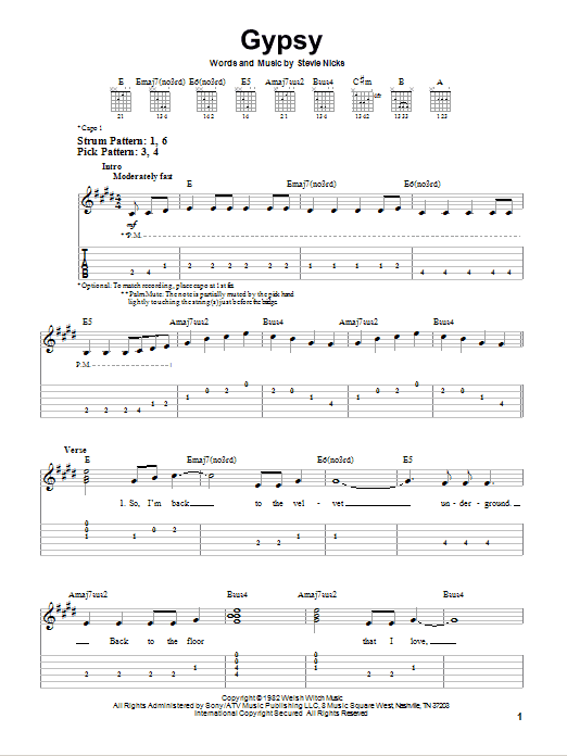 Gypsy sheet music by Fleetwood Mac (Easy Guitar Tab – 75159)