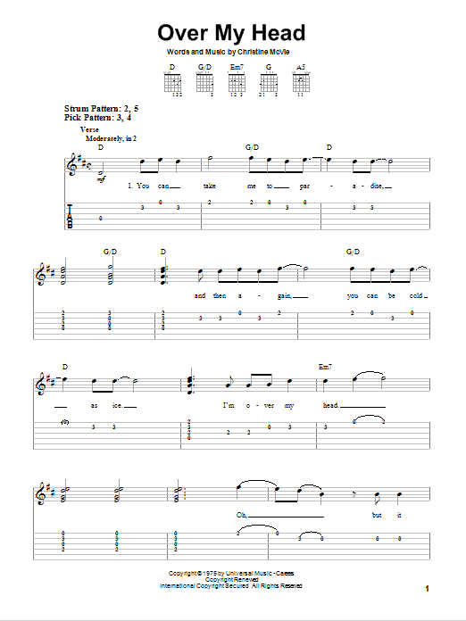 Over My Head (Easy Guitar Tab)