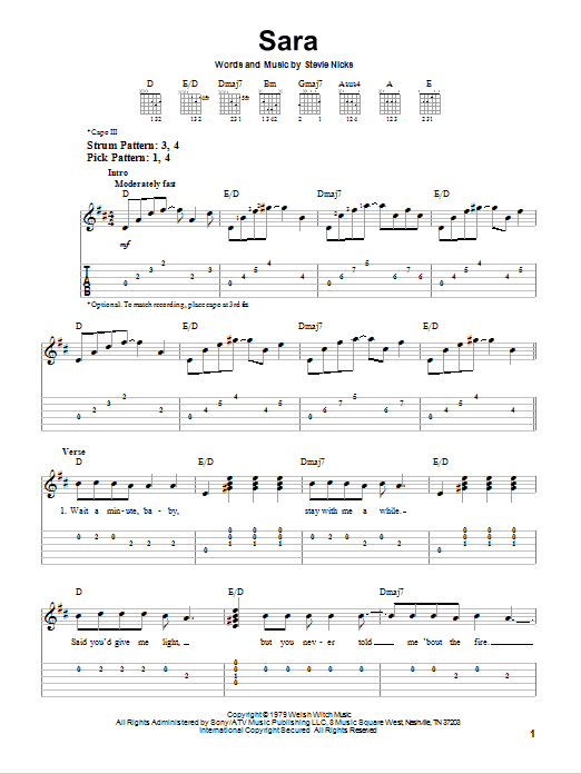 Tablature guitare Sara de Fleetwood Mac - Tablature guitare facile