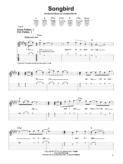 Tablature guitare Songbird de Fleetwood Mac - Tablature guitare facile