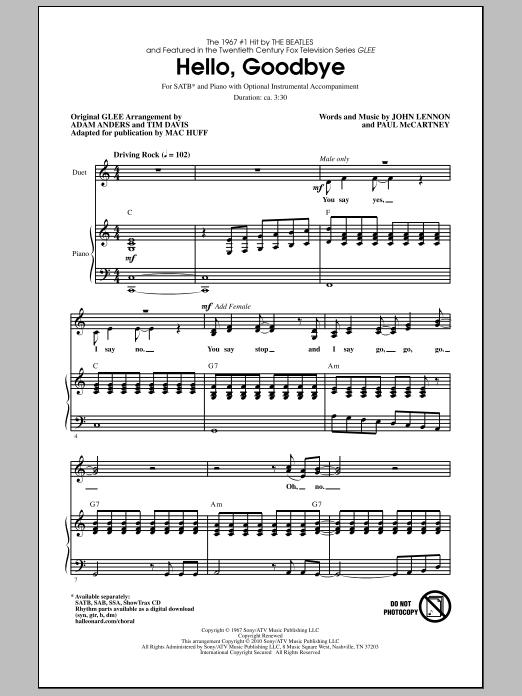 Hello, Goodbye Sheet Music