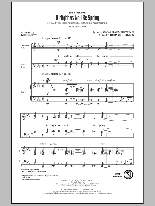 It Might As Well Be Spring (SATB Choir)