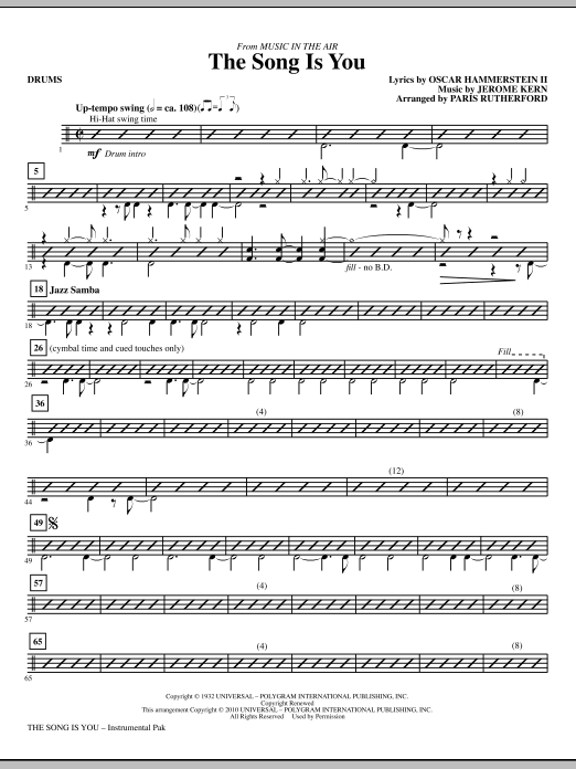 The Song Is You - Drums Sheet Music