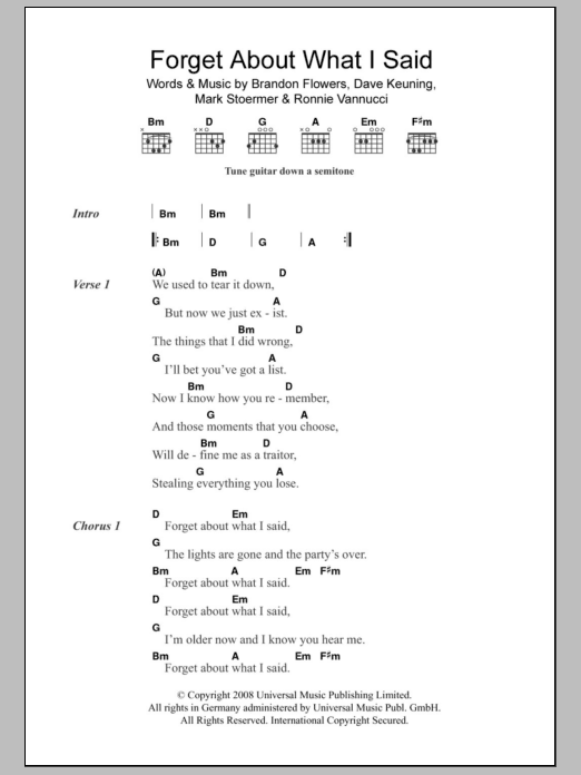 Forget About What I Said Sheet Music