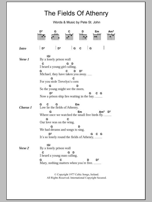 The Fields Of Athenry By Pete St John Guitar Chordslyrics