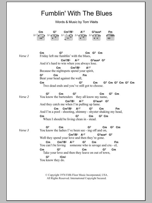 Fumblin With The Blues By Tom Waits Guitar Chordslyrics Guitar