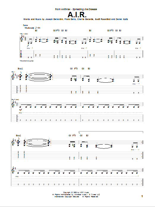 Tablature guitare A.I.R. de Anthrax - Tablature Guitare