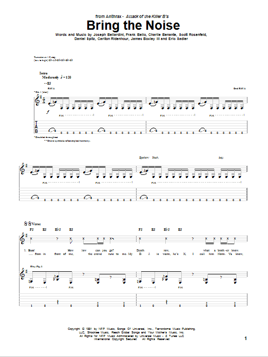 Tablature guitare Bring The Noise de Anthrax - Tablature Guitare