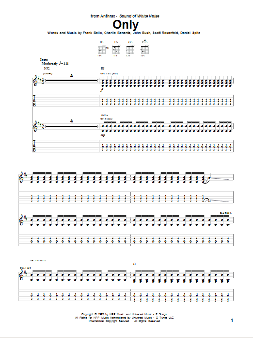 Tablature guitare Only de Anthrax - Tablature Guitare