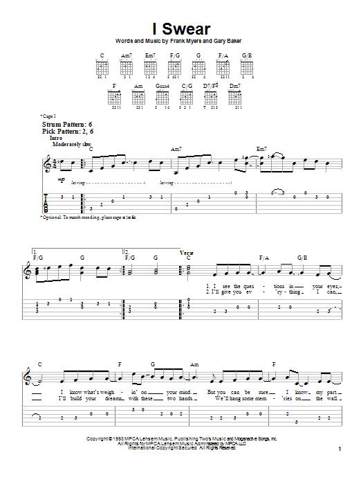 I Swear (Easy Guitar Tab)