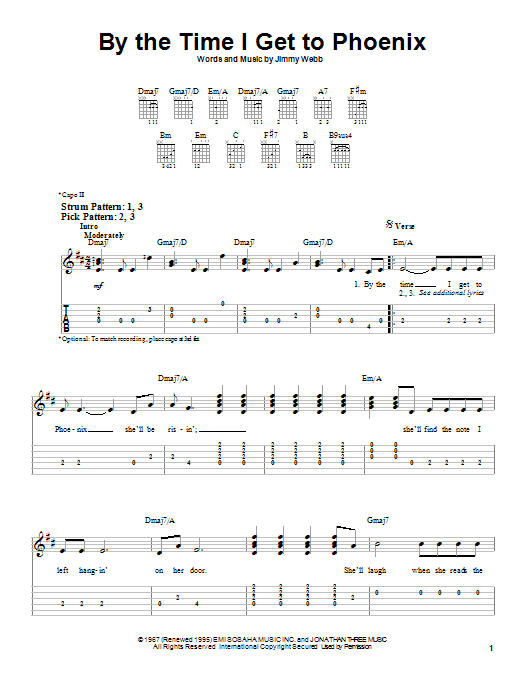 Tablature guitare By The Time I Get To Phoenix de Glen Campbell - Tablature guitare facile