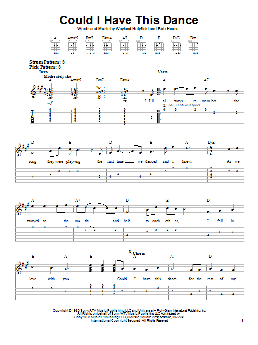 Tablature guitare Could I Have This Dance de Anne Murray - Tablature guitare facile