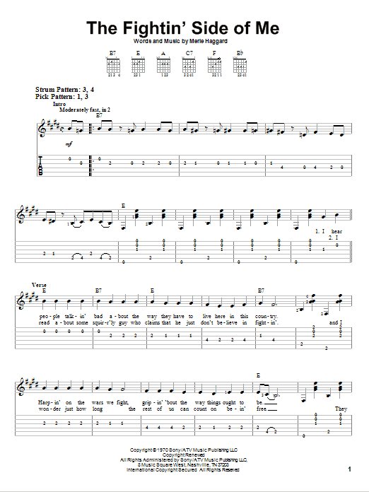 Tablature guitare The Fightin' Side Of Me de Merle Haggard - Tablature guitare facile