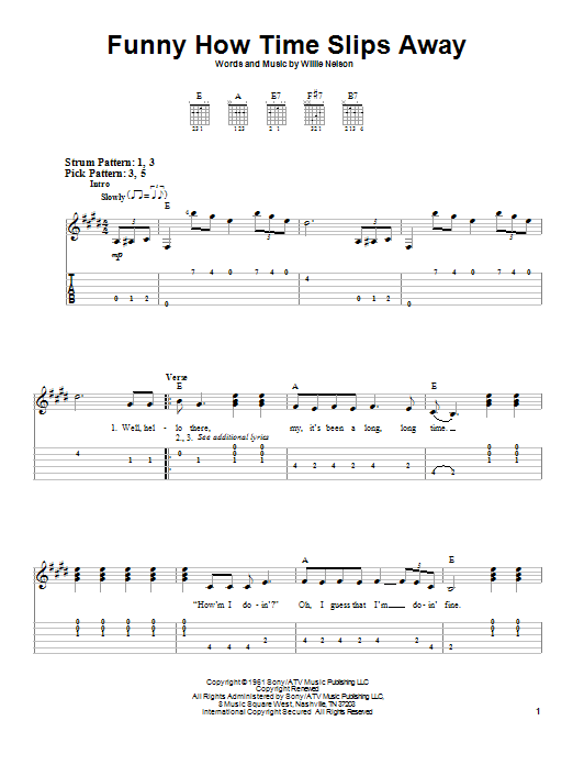 Funny How Time Slips Away (Easy Guitar Tab)