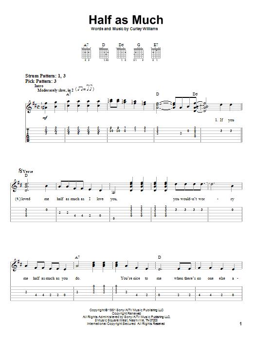 Tablature guitare Half As Much de Hank Williams - Tablature guitare facile