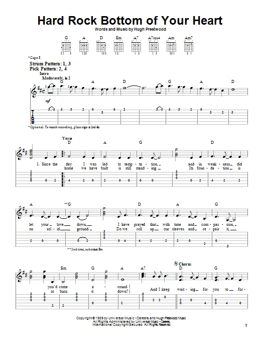 Hard Rock Bottom Of Your Heart Sheet Music