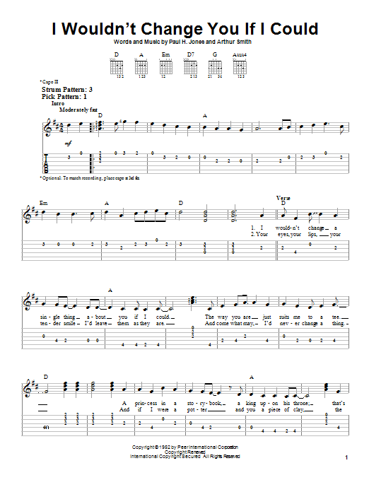 Tablature guitare I Wouldn't Change You If I Could de Ricky Skaggs - Tablature guitare facile