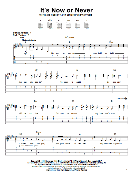 Tablature guitare It's Now Or Never de Elvis Presley - Tablature guitare facile