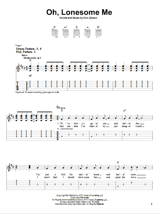 Oh, Lonesome Me (Easy Guitar Tab)