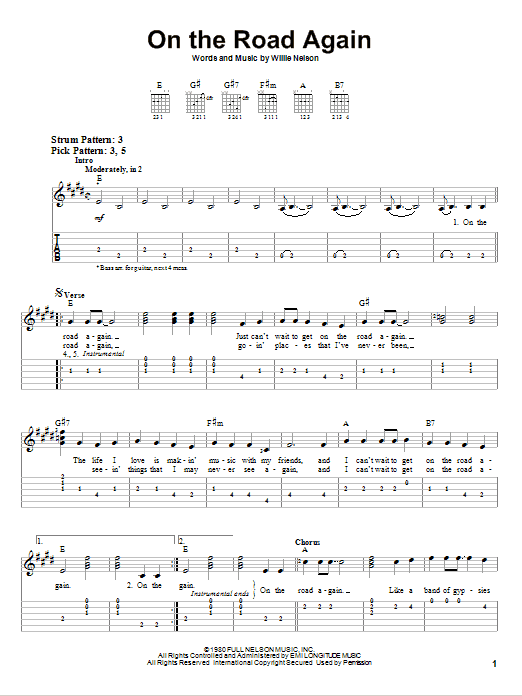 On The Road Again (Easy Guitar Tab)
