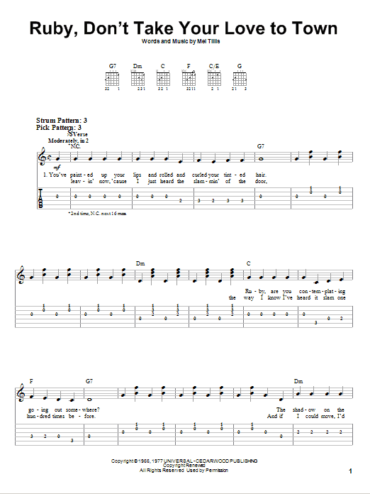 Tablature guitare Ruby, Don't Take Your Love To Town de Kenny Rogers - Tablature guitare facile