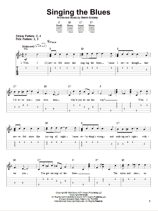 Tablature guitare Singing The Blues de Guy Mitchell - Tablature guitare facile
