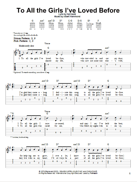 To All The Girls I've Loved Before (Easy Guitar Tab)