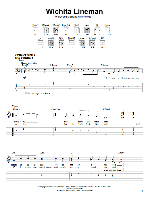 Wichita Lineman (Easy Guitar Tab)