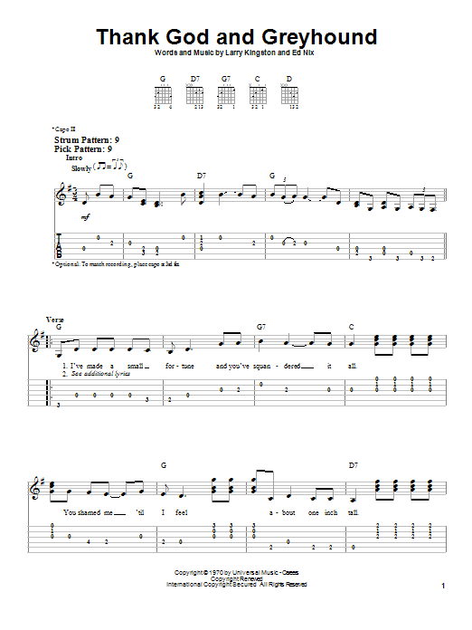Tablature guitare Thank God And Greyhound de Roy Clark - Tablature guitare facile
