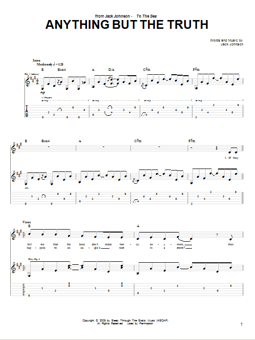 Tablature guitare Anything But The Truth de Jack Johnson - Tablature Guitare