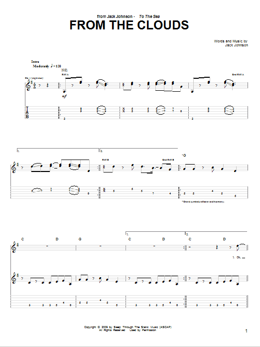 Tablature guitare From The Clouds de Jack Johnson - Tablature Guitare