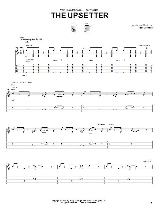 Tablature guitare The Upsetter de Jack Johnson - Tablature Guitare